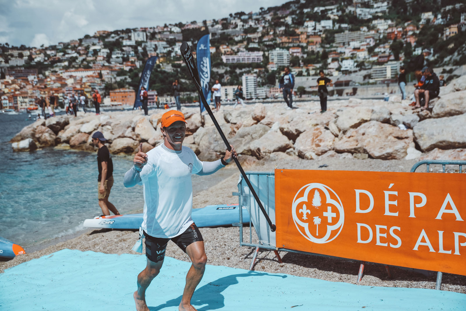 Starboard-SUP-Stand-Up-Paddleboarding-Michael-Booth-Fiona-Wylde-Win-2019-Azur-Paddle-Days-Race-Event-France-Boohy-croses-finish-line