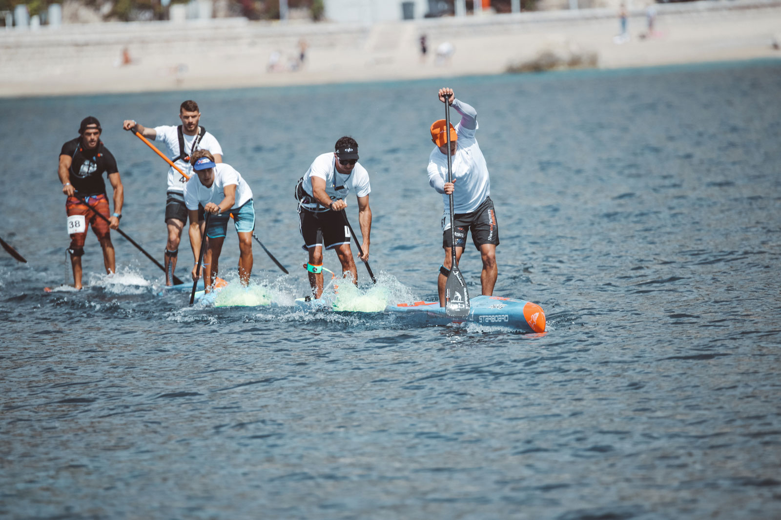 Starboard-SUP-Stand-Up-Paddleboarding-Michael-Booth-Fiona-Wylde-Win-2019-Azur-Paddle-Days-Race-Event-France-Boothy-leads-pack
