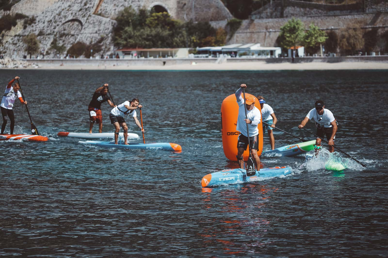 Starboard-SUP-Stand-Up-Paddleboarding-Michael-Booth-Fiona-Wylde-Win-2019-Azur-Paddle-Days-Race-Event-France-pack-buoy-turn-1
