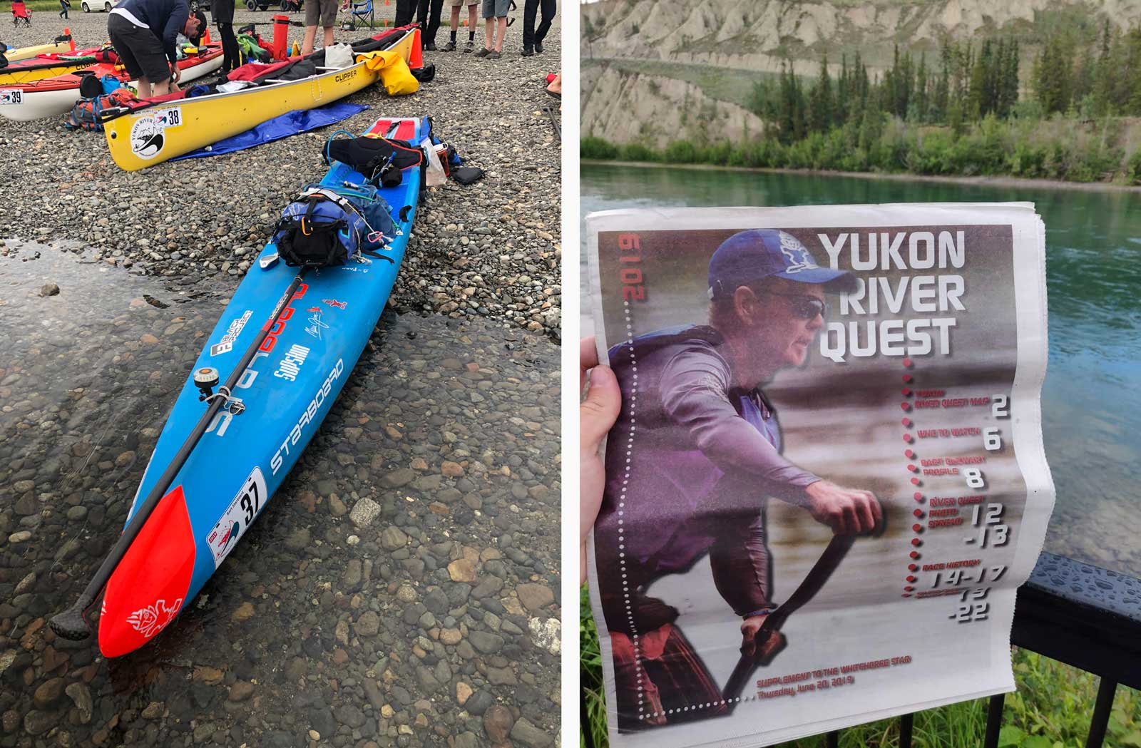 Bart-Conquers-4th-Yukon-River-Quest-stand-up-paddleboard-sup-all-star-with-gear-newspaper-front-page-whitehorse-dawson-city-Canada-1600